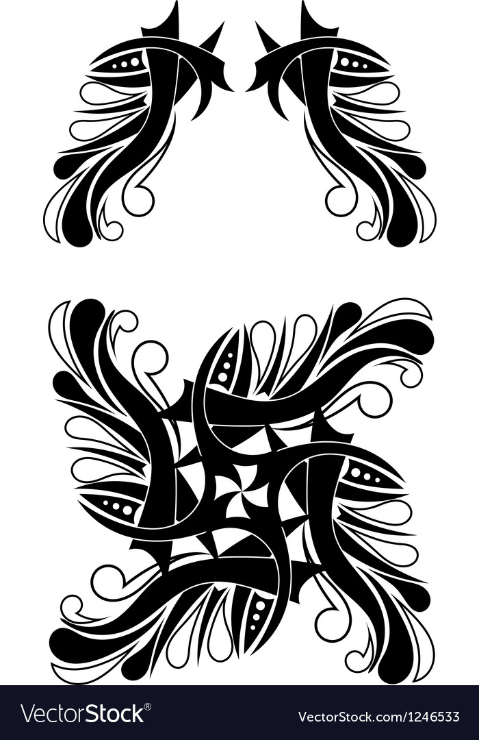 Free elegant blackwhite tribal tattoo design vector