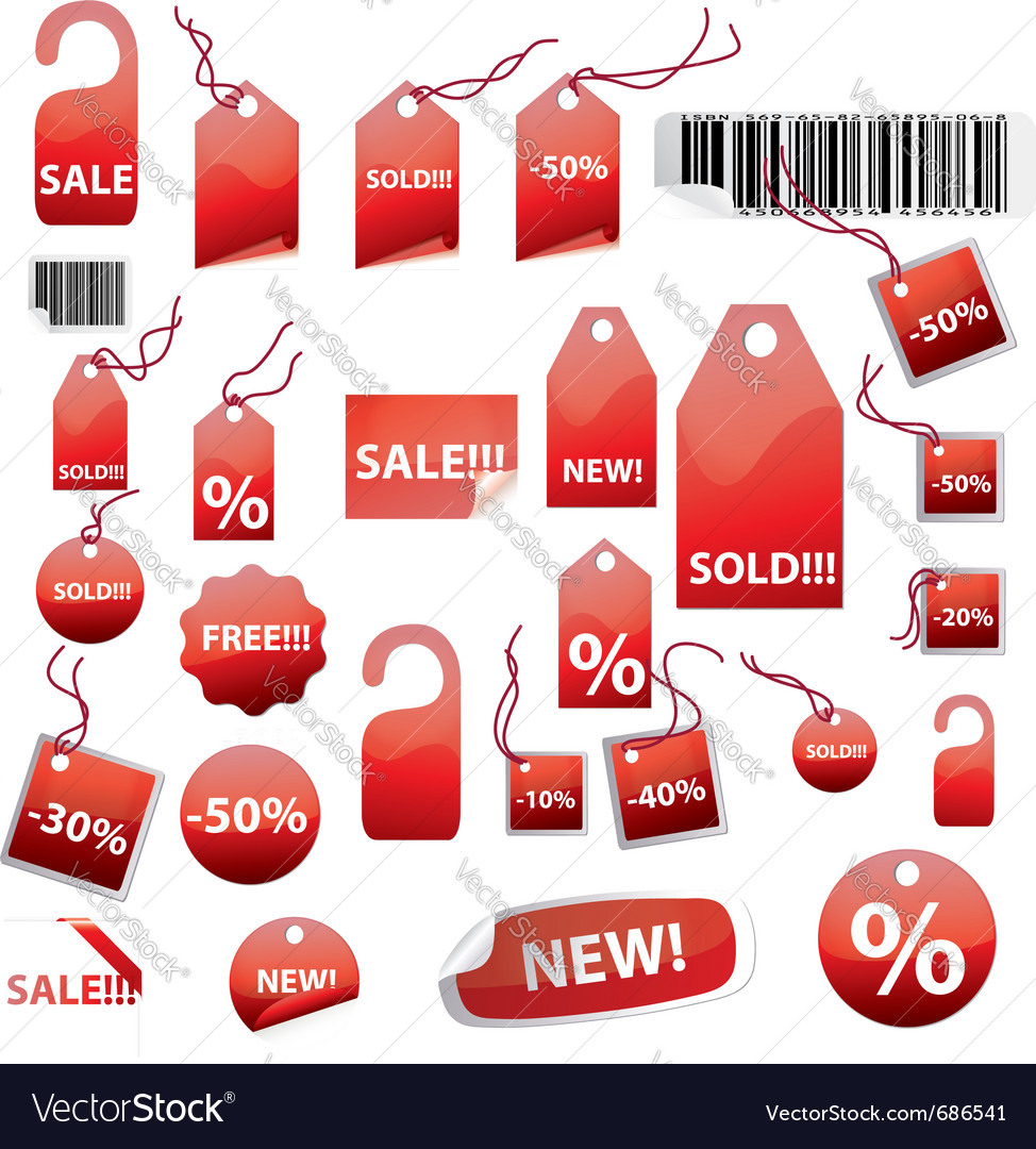Retail tags on white vector