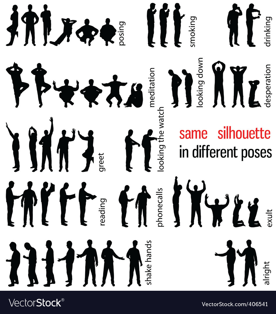 Silhouettes set vector