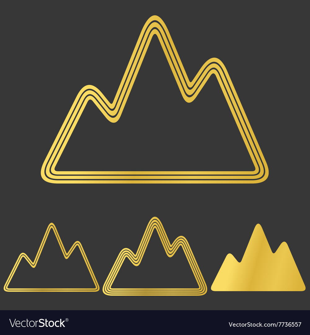 Golden line mountain logo design set