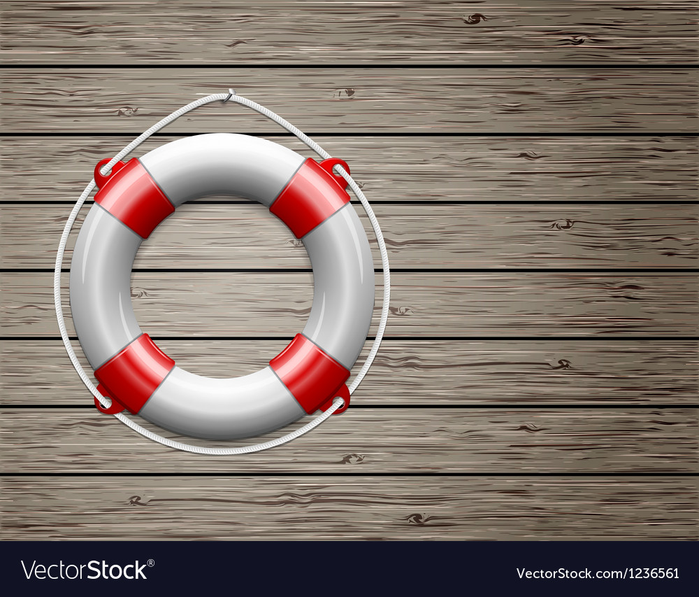 Life buoy on a wooden paneled wall vector