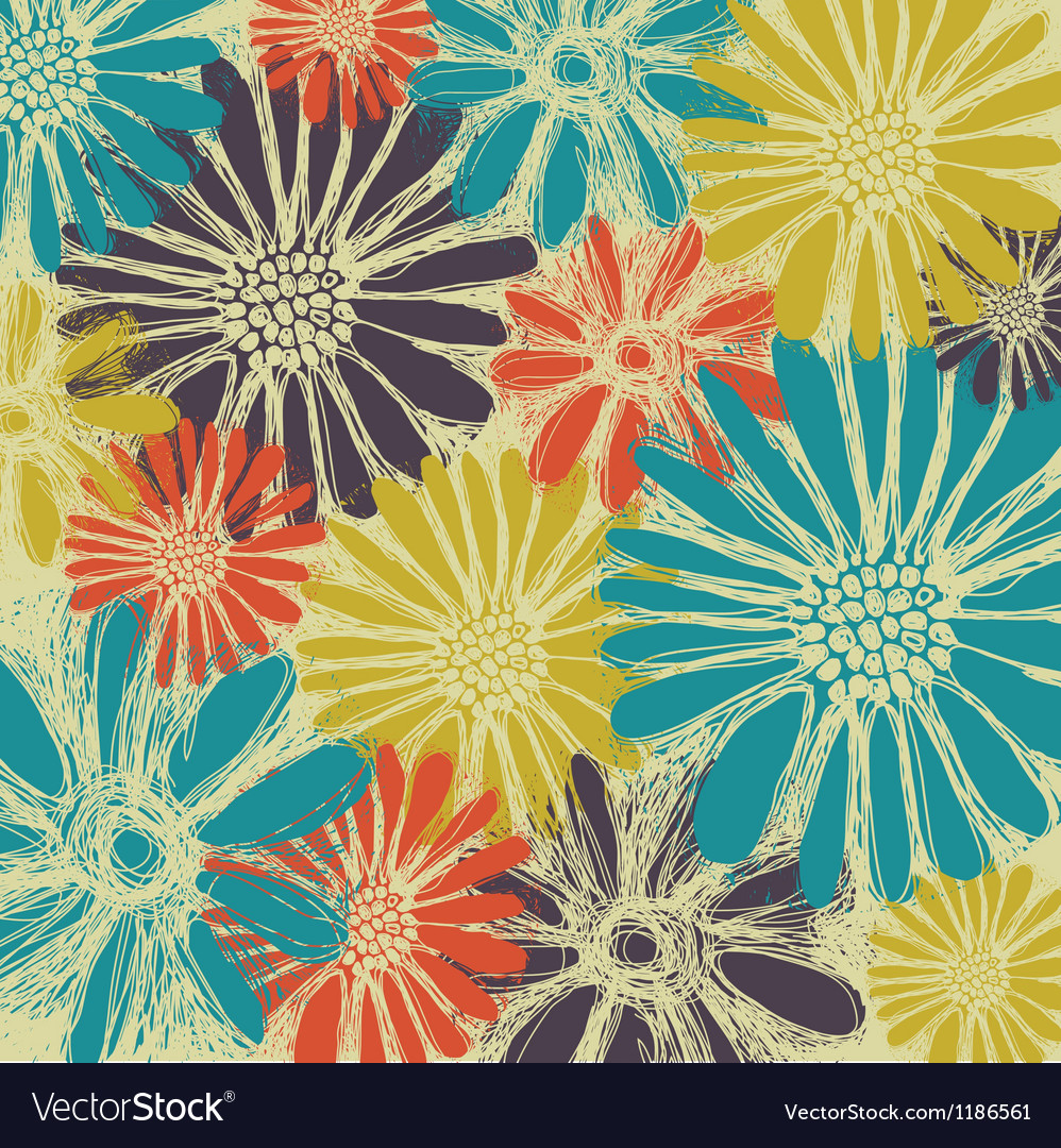 Vintage romantic seamless pattern with summer flow vector