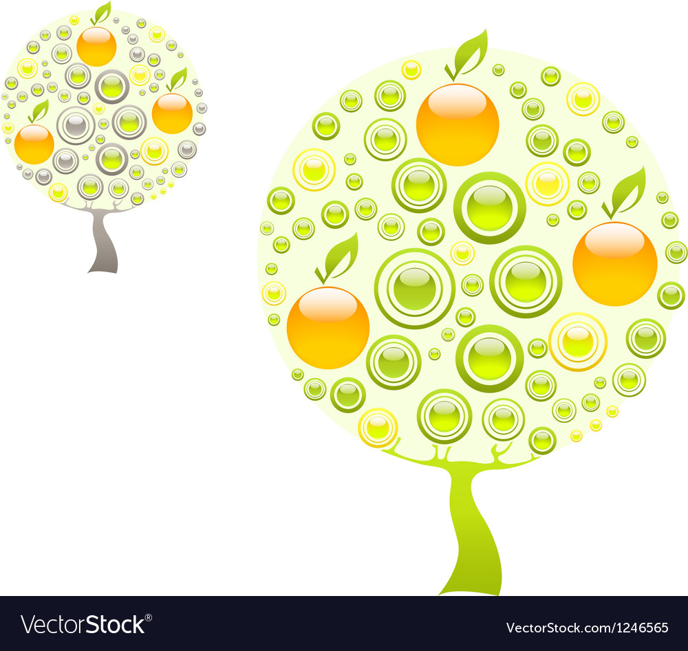 Apple tree with green and yellow gems vector