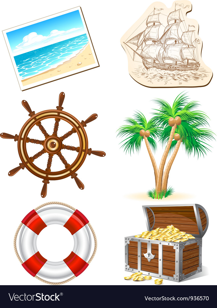 Set of icons for sea travel vector