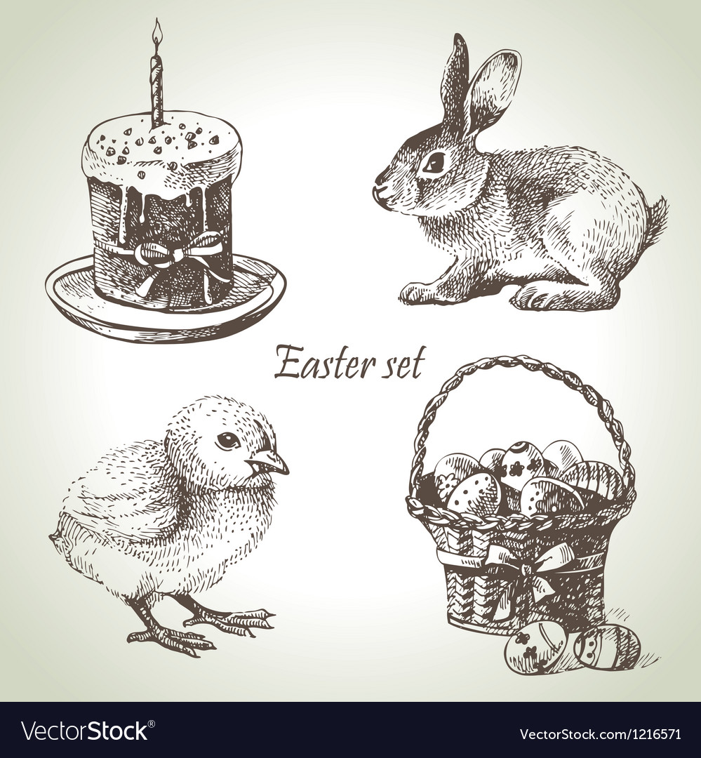 Hand drawn easter set vector