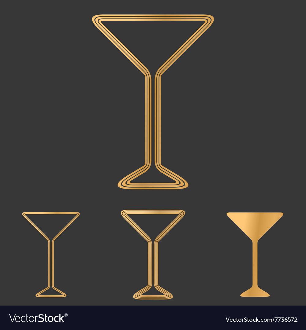 Bronze line drink logo design set