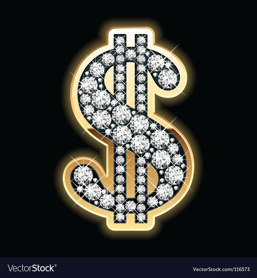 Dollar symbol in diamonds vector