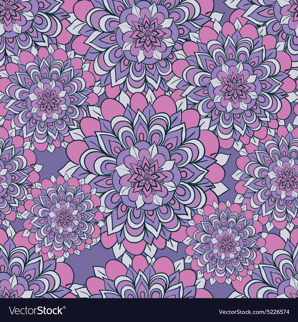 Beautiful pattern with flowers on a purple
