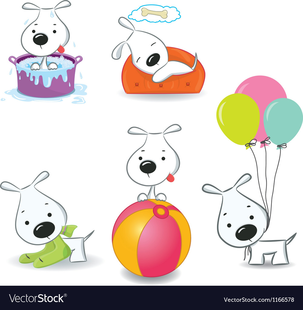 Set of funny puppies vector