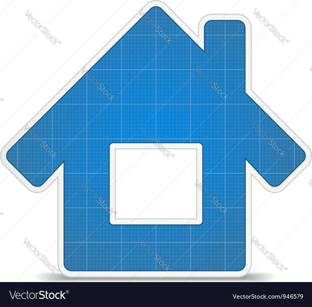 Blueprint house icon vector