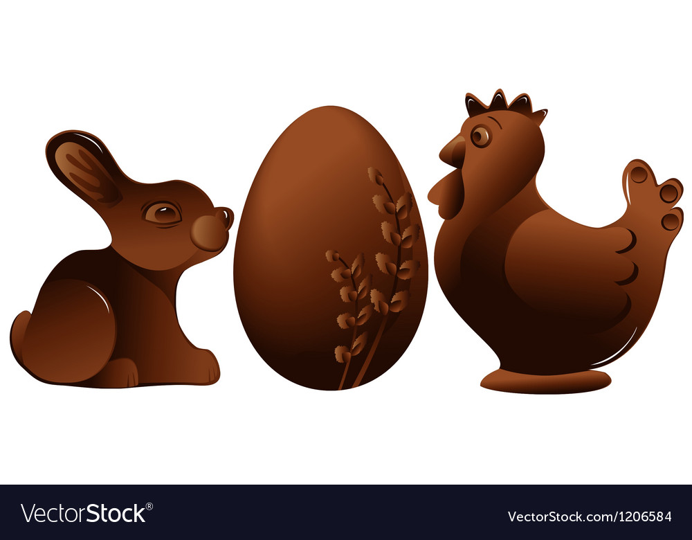 Easter chocolate figures vector