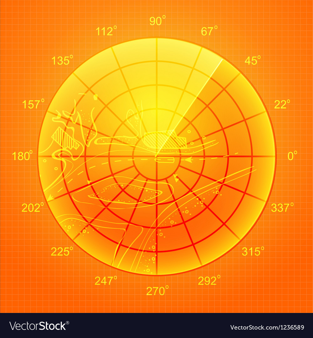 Orange radar screen vector