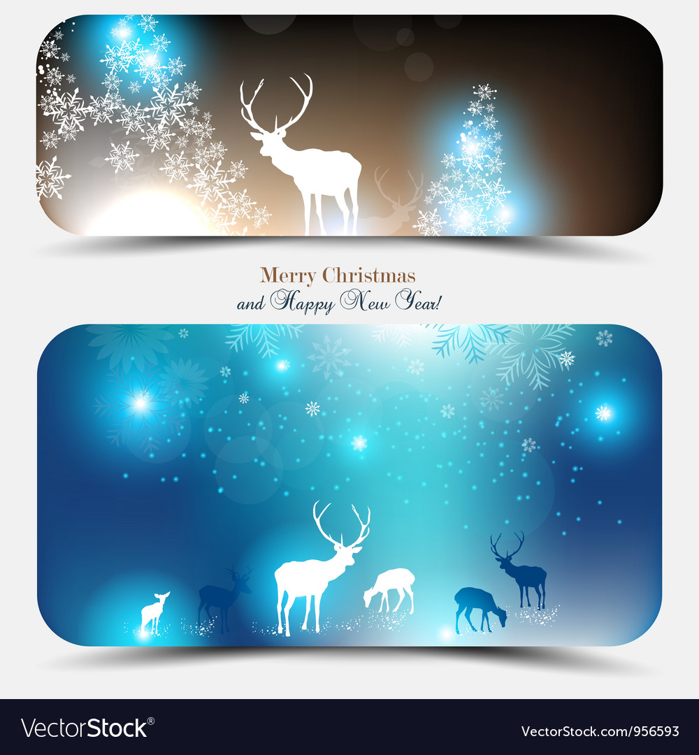 Christmas banners with deers vector