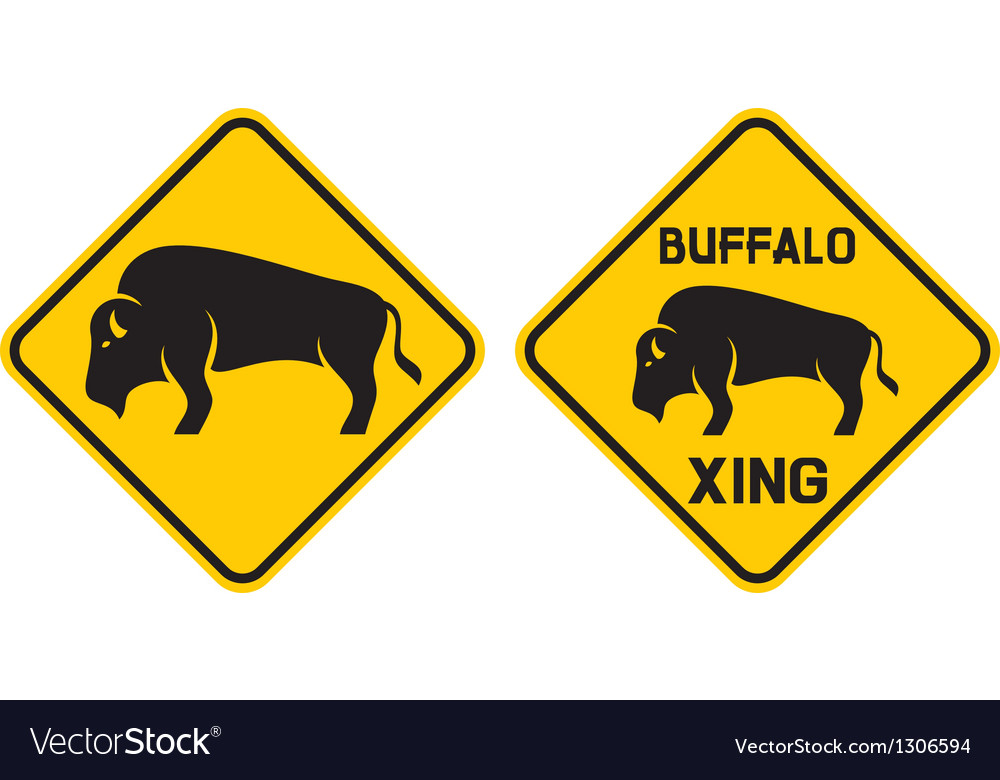 warning buffalo sign vector
