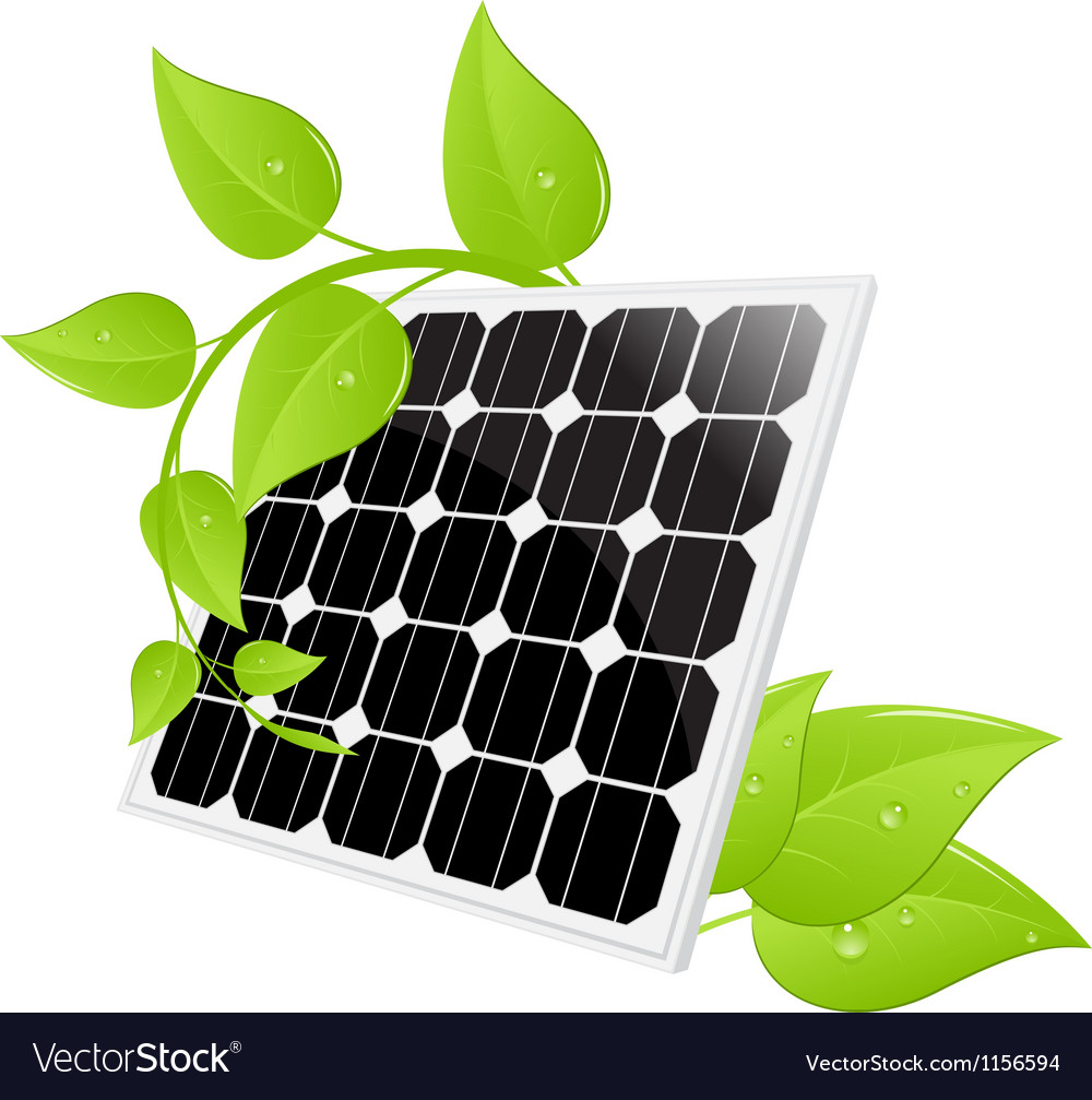 Solar cell leaves vector