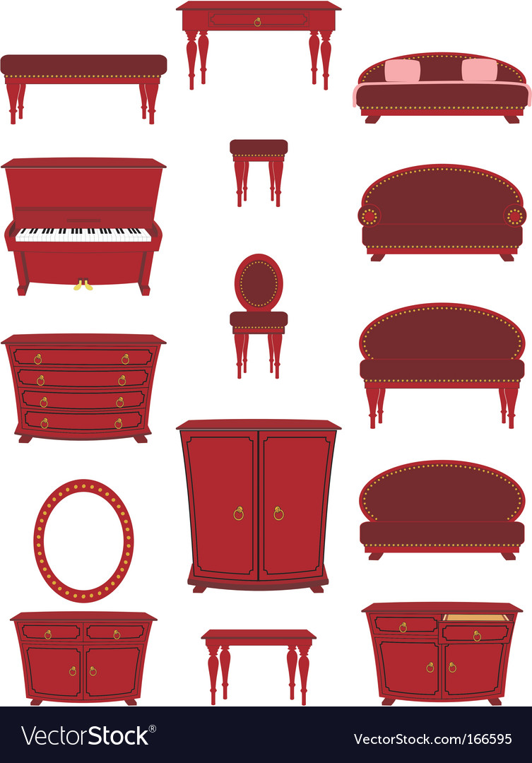 Set of cartoon furniture vector