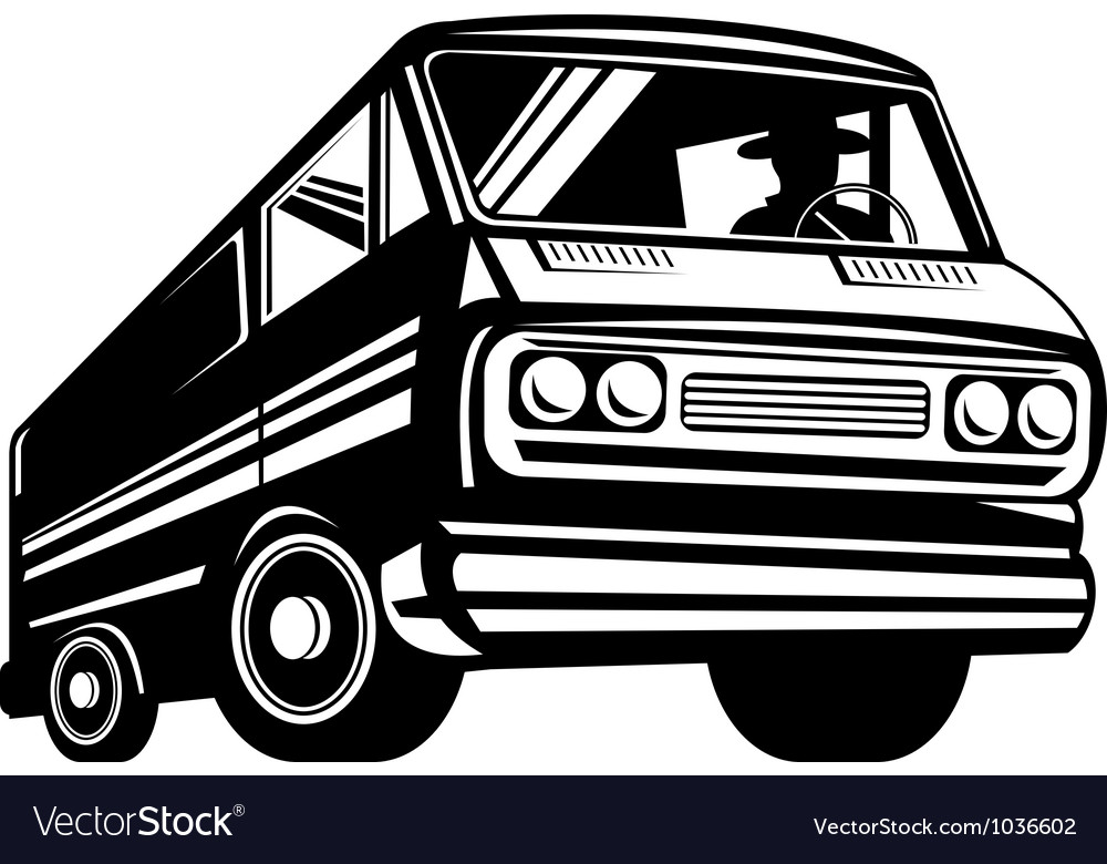 Closed delivery van retro vector