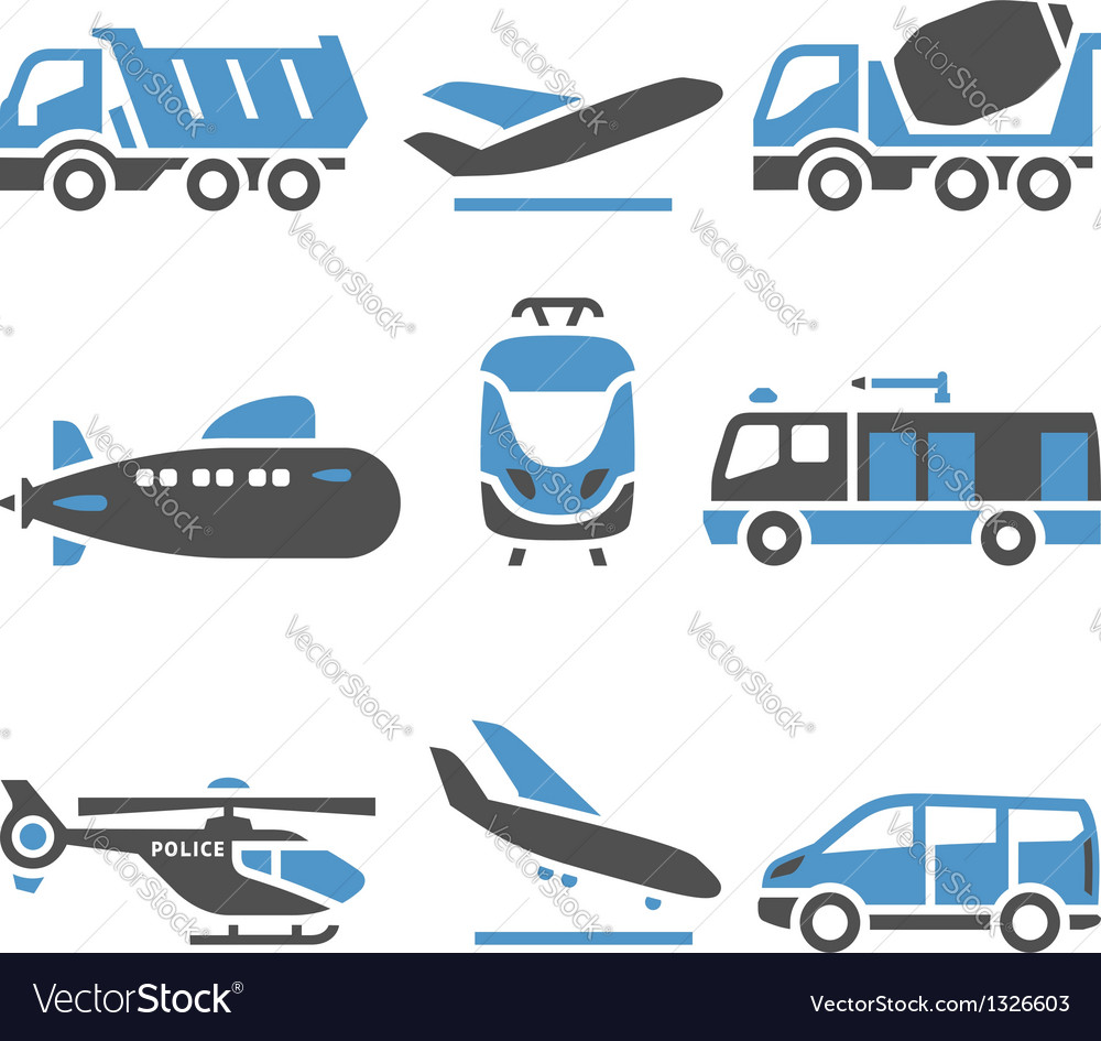 Transport icons  a set of eleventh vector