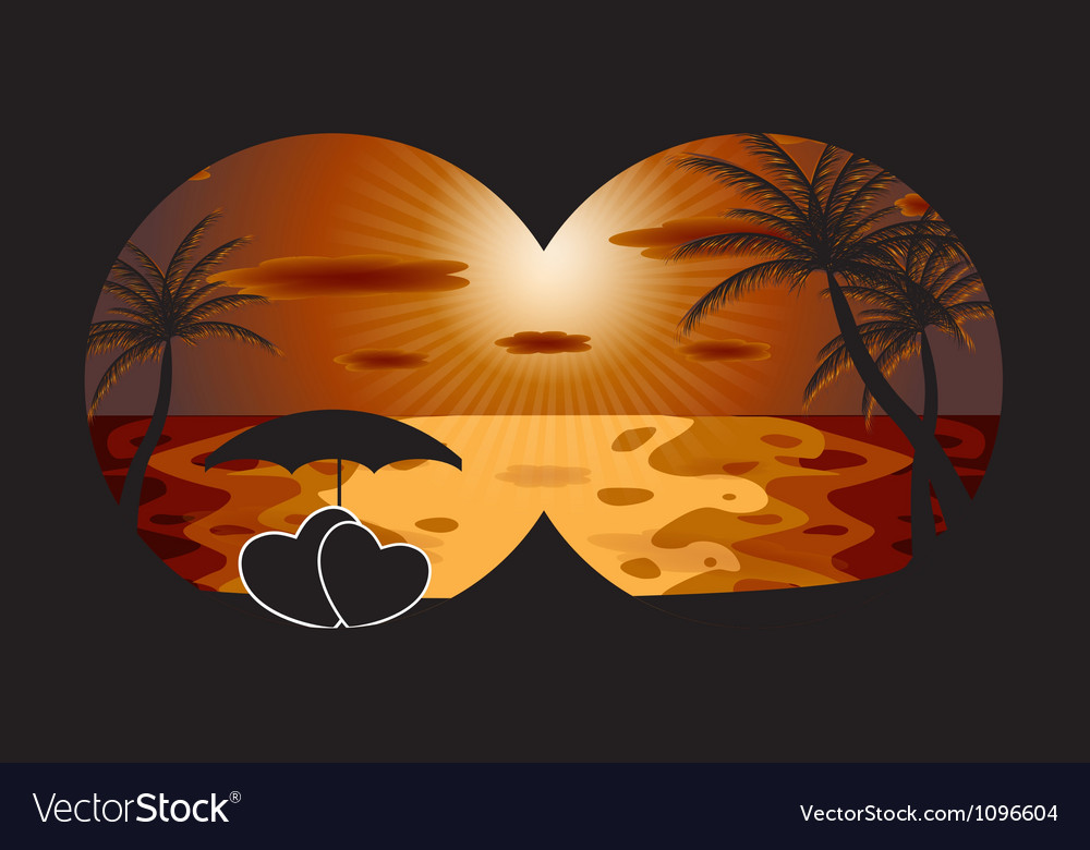 Palm in the sunset eps 10 vector