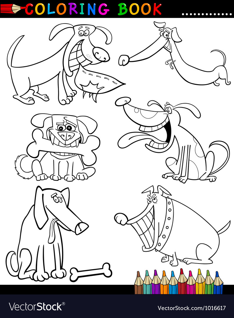 Cartoon dogs for coloring book or page vector