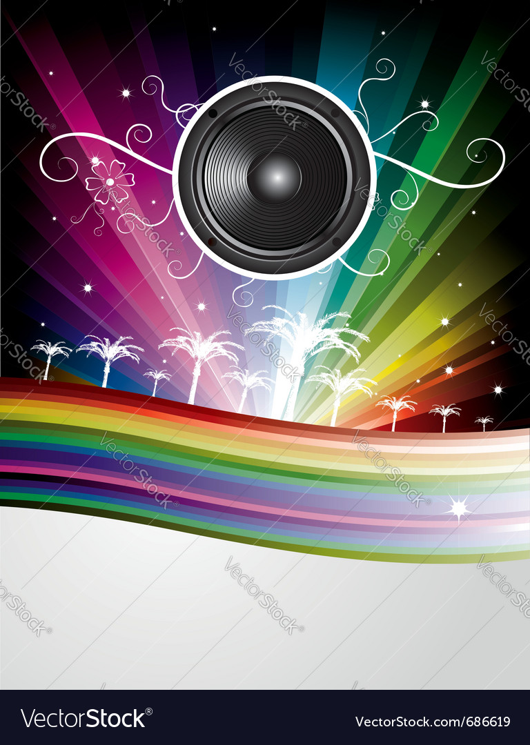 Speaker rainbow background vector