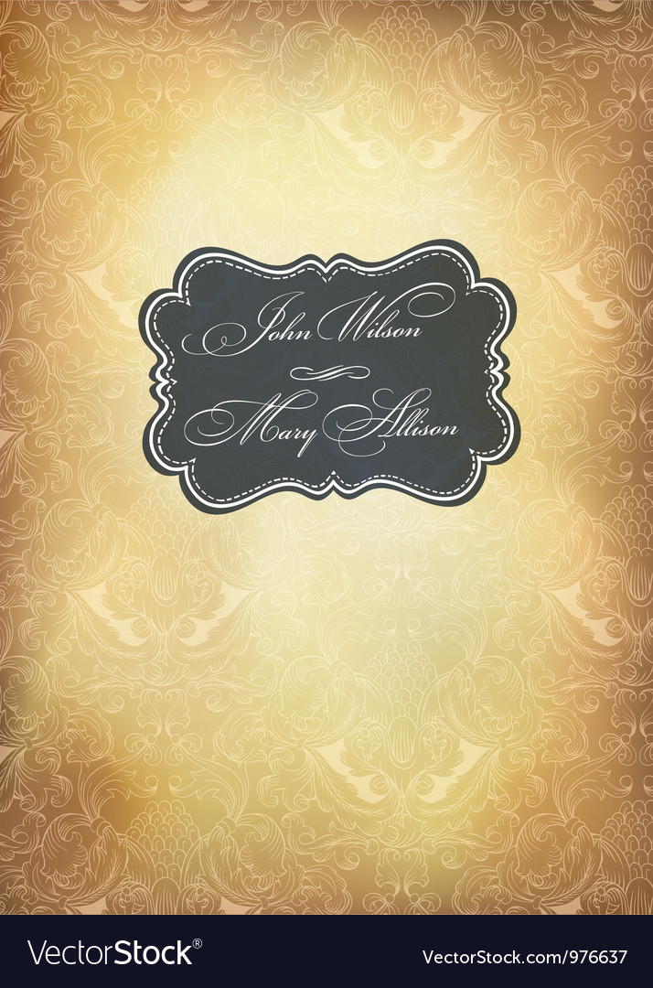 Vintage wedding vertical format card vector