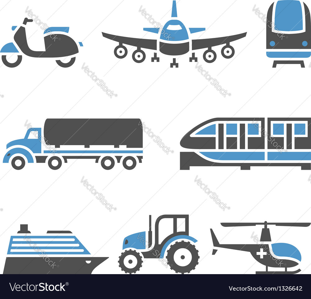 Transport icons  a set of tenth vector