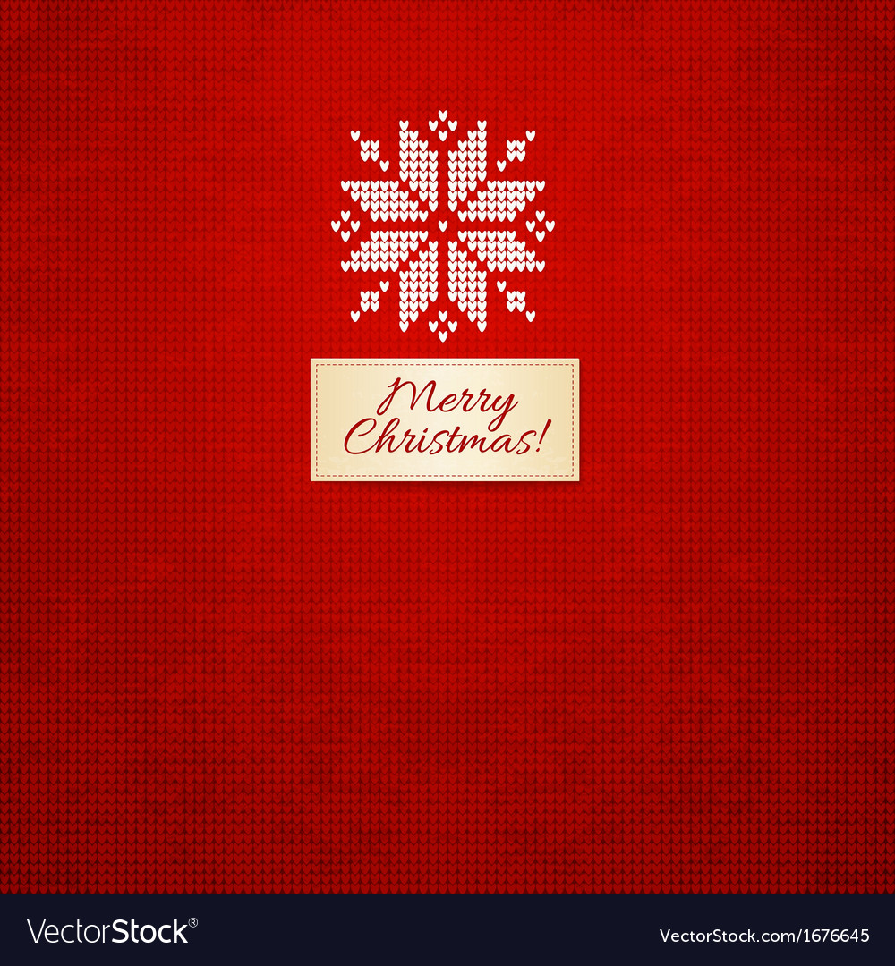 Merry christmas scandinavian style knitted card vector