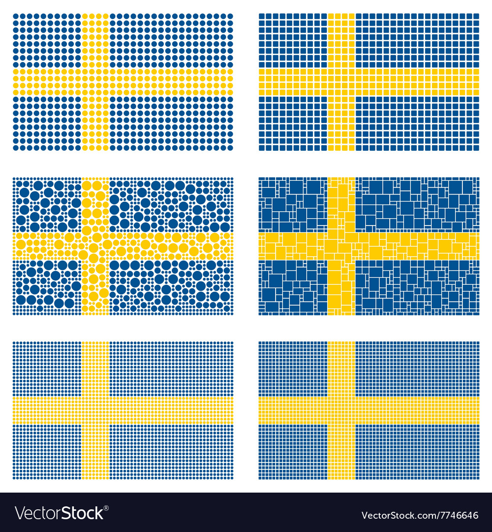 Mosaic sweden flag set