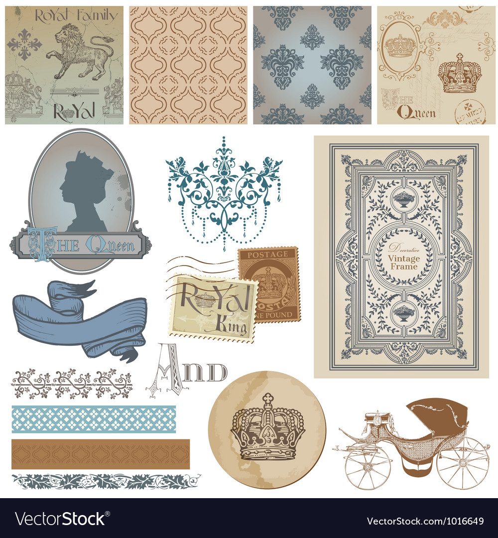 Design elements  vintage royalty set vector