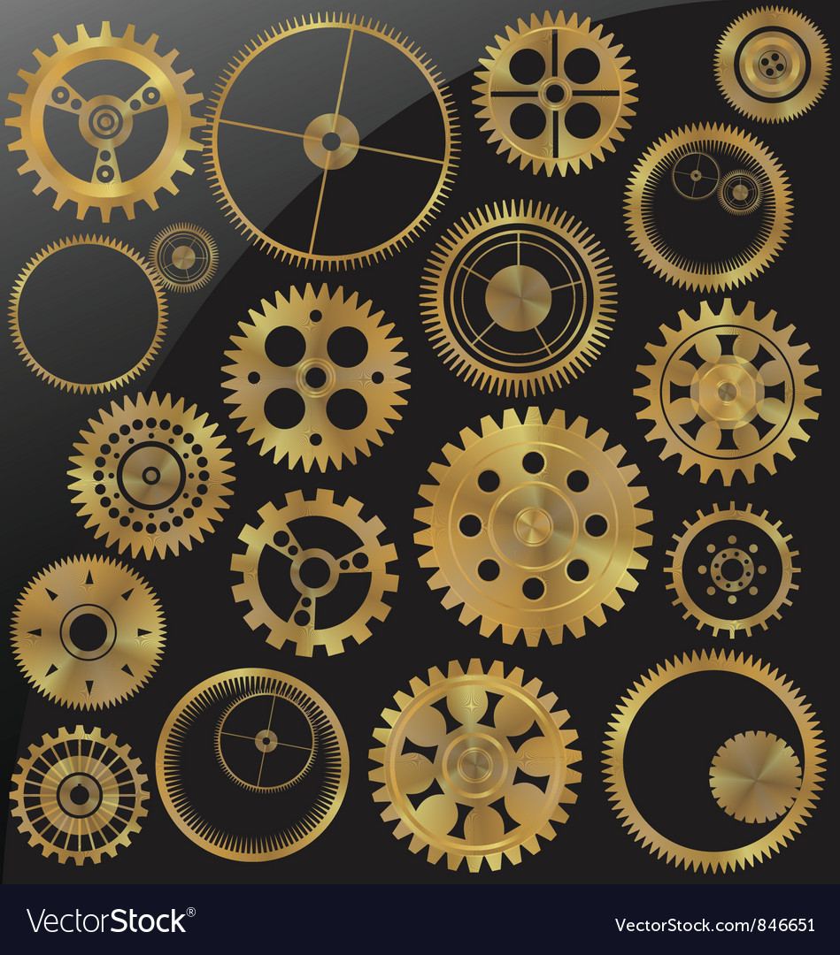 Gold gear set vector
