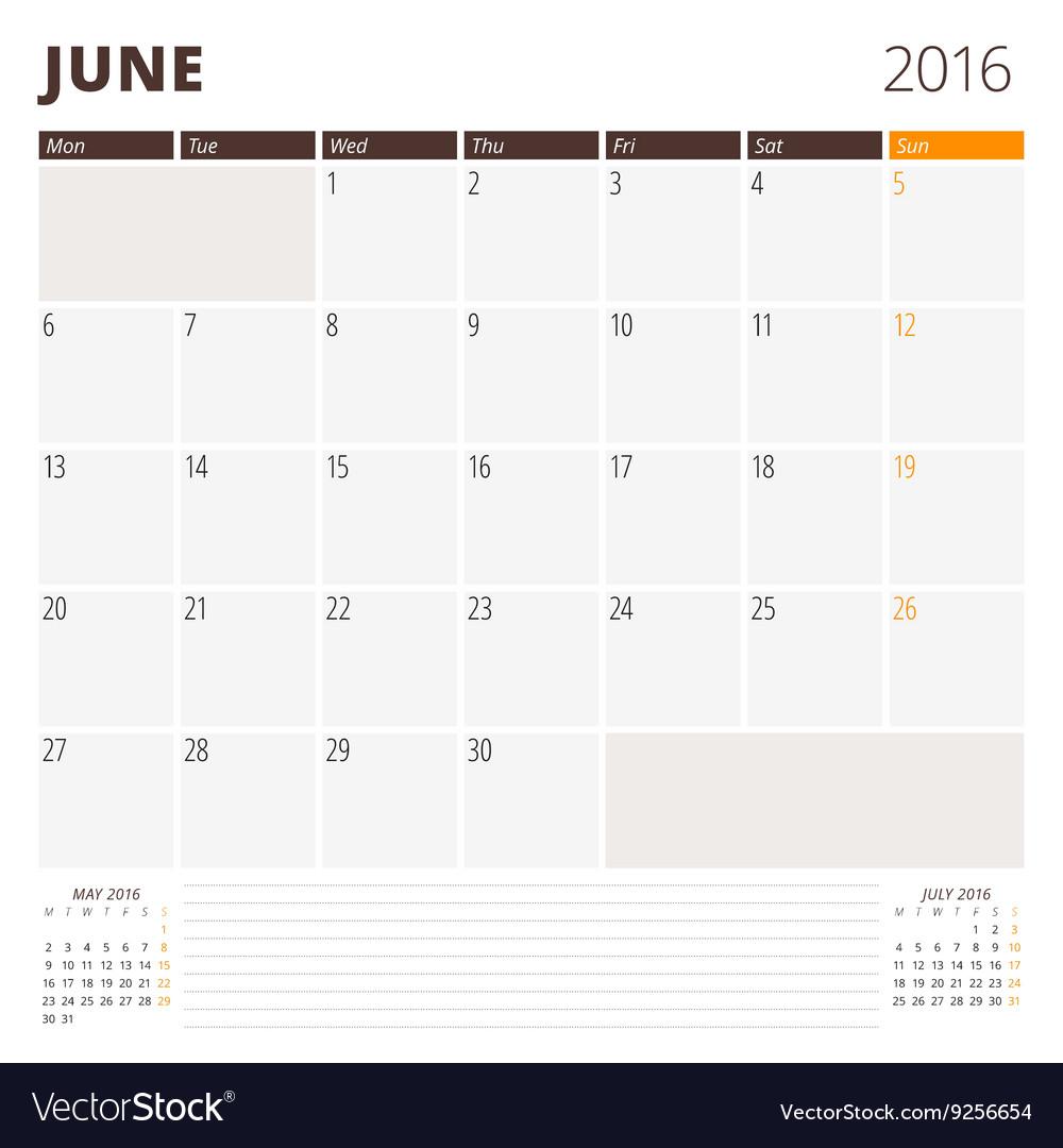 June Calendar Vector : Calendar template for june week starts monday vector
