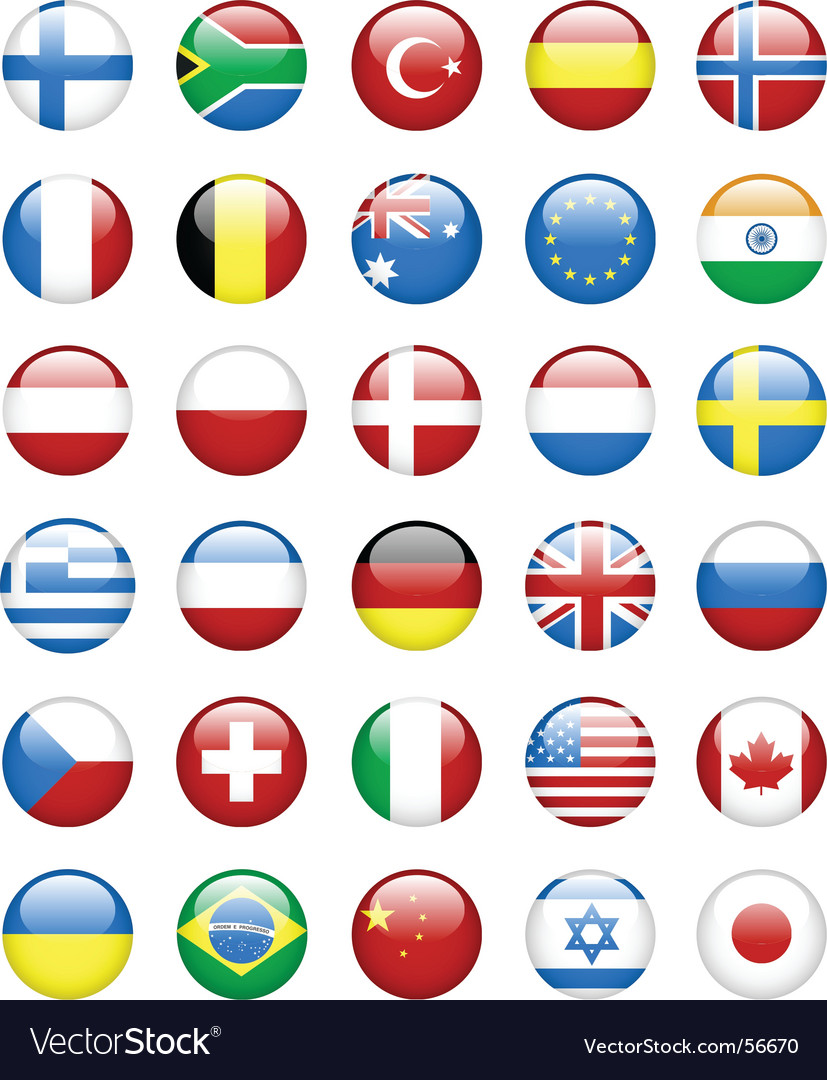 Flag glassy buttons vector