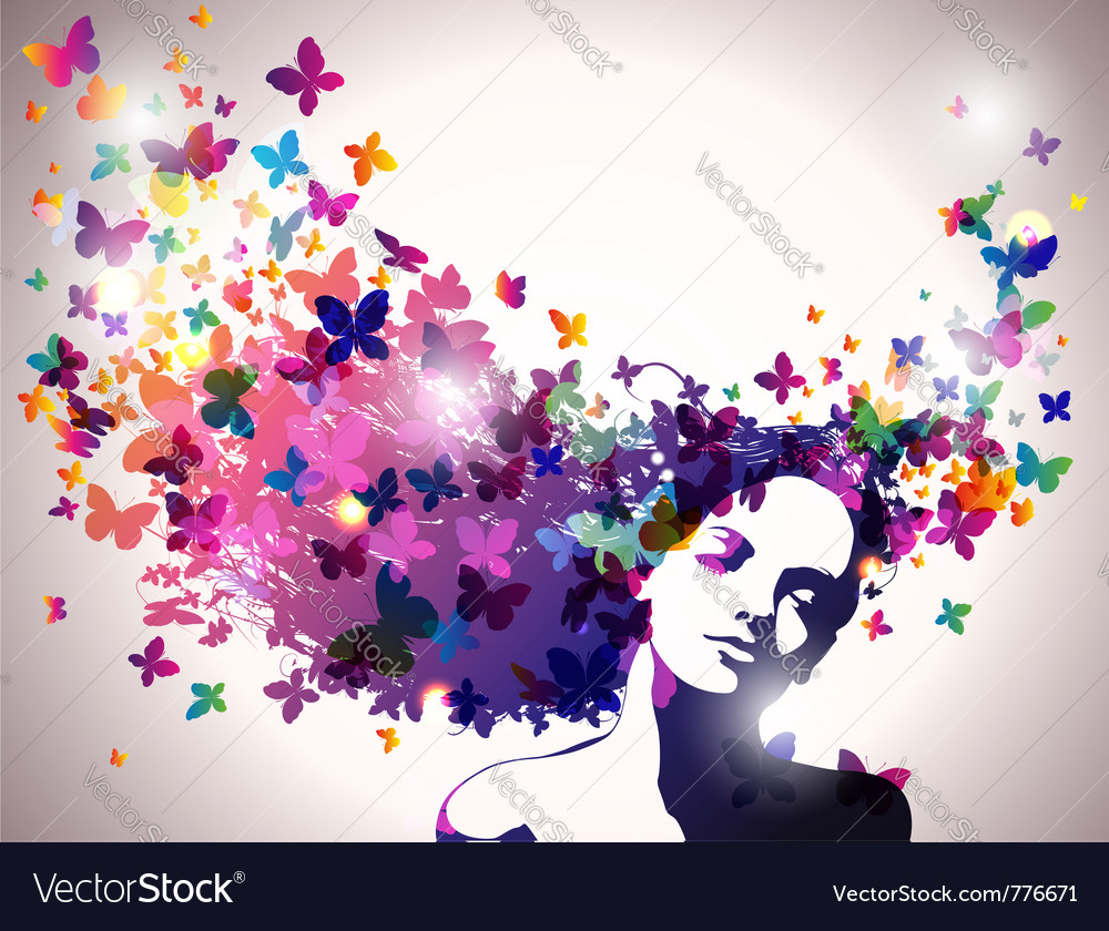 Woman with butterflies flying from her hair vector