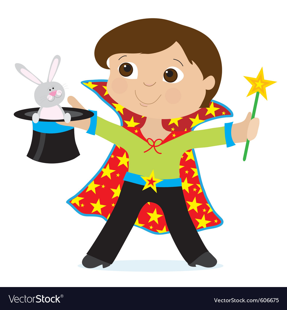 Happy magician vector illustration | Public domain vectors