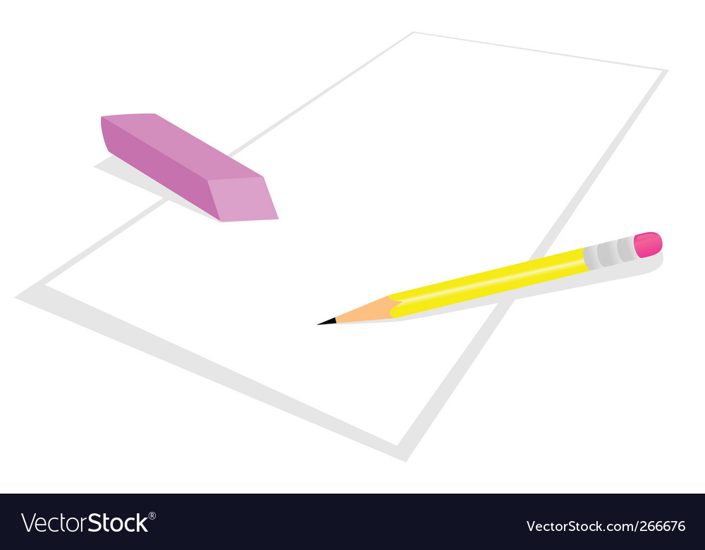 Pencil and elastic band vector