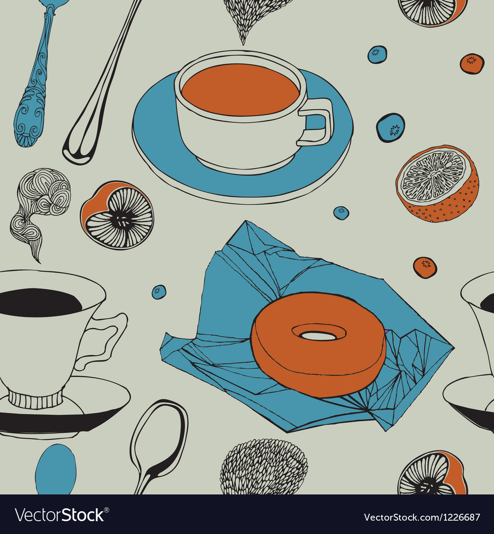 Seamless background with tea breakfast vector