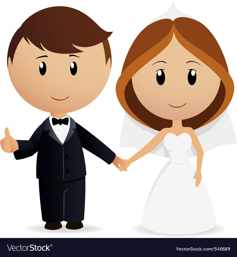 Cartoon wedding couple vector