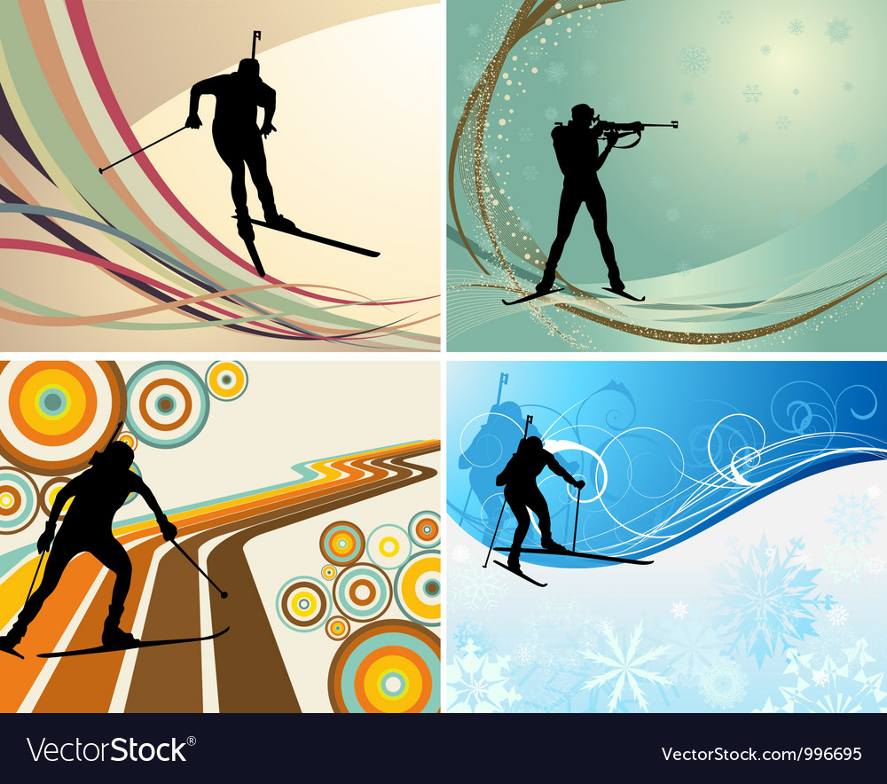 Biathlon backgr set vector