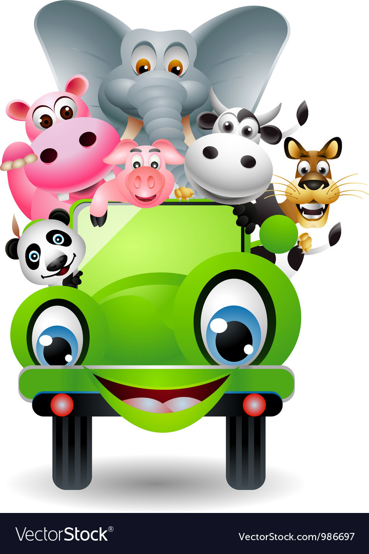 Funny animal cartoon in green car vector