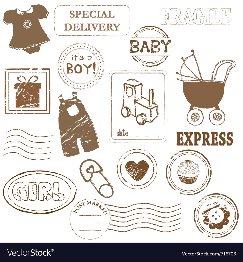 Baby stamp collection vector