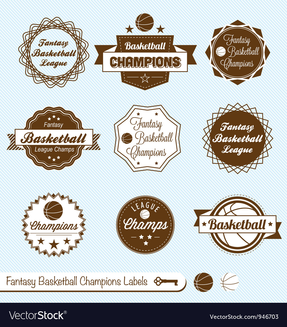 Fantasy basketball labels vector