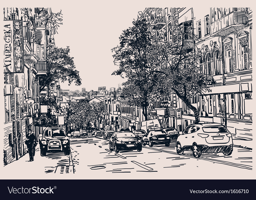 Digital drawing of city traffic engraving style vector