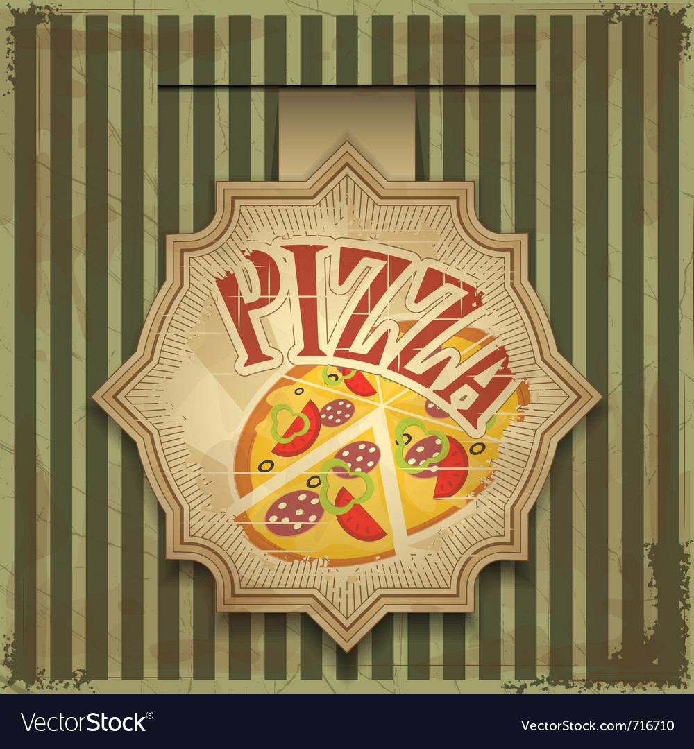 Vintage card menu  pizza label vector
