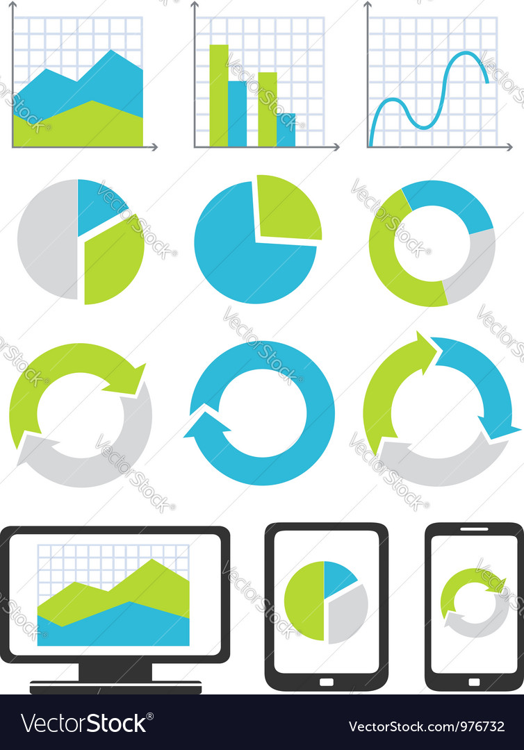 Business chart and graph icons vector