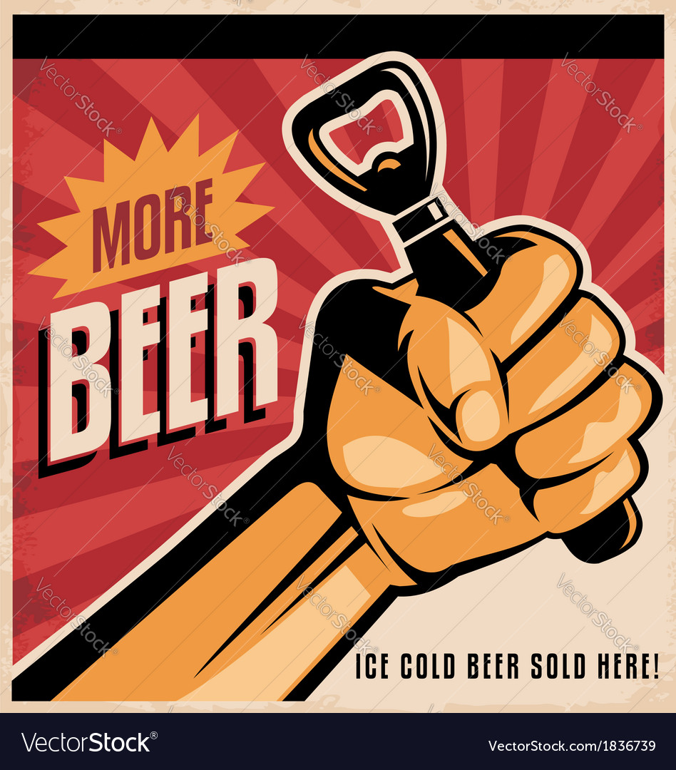 Beer retro poster design with revolution fist vector