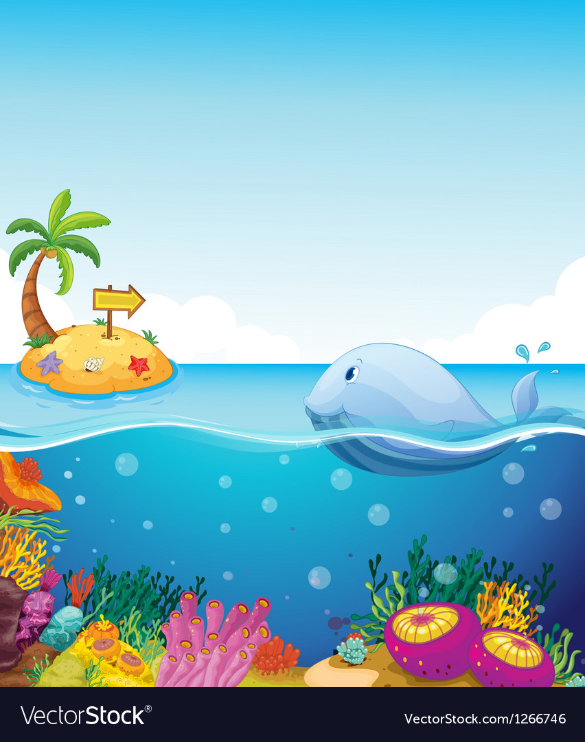 A fish looking at the island with an arrow vector