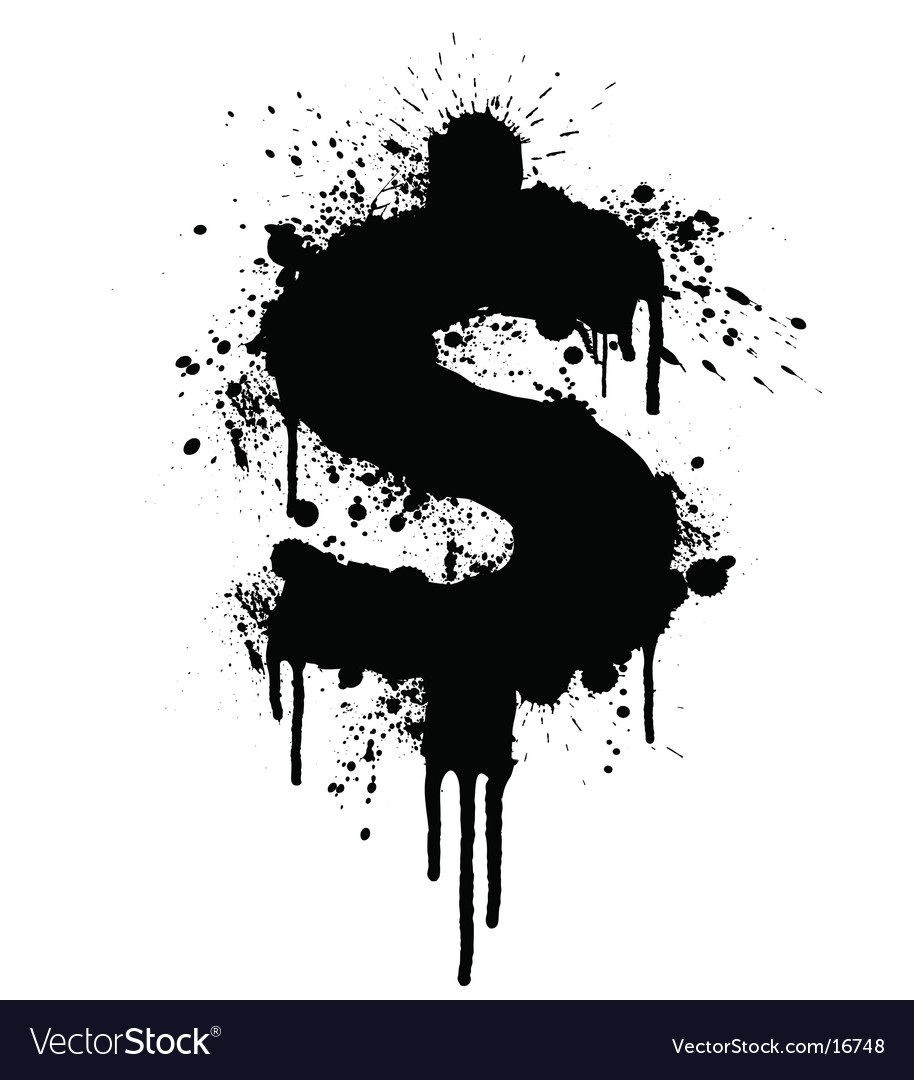 Dollar splatter design vector