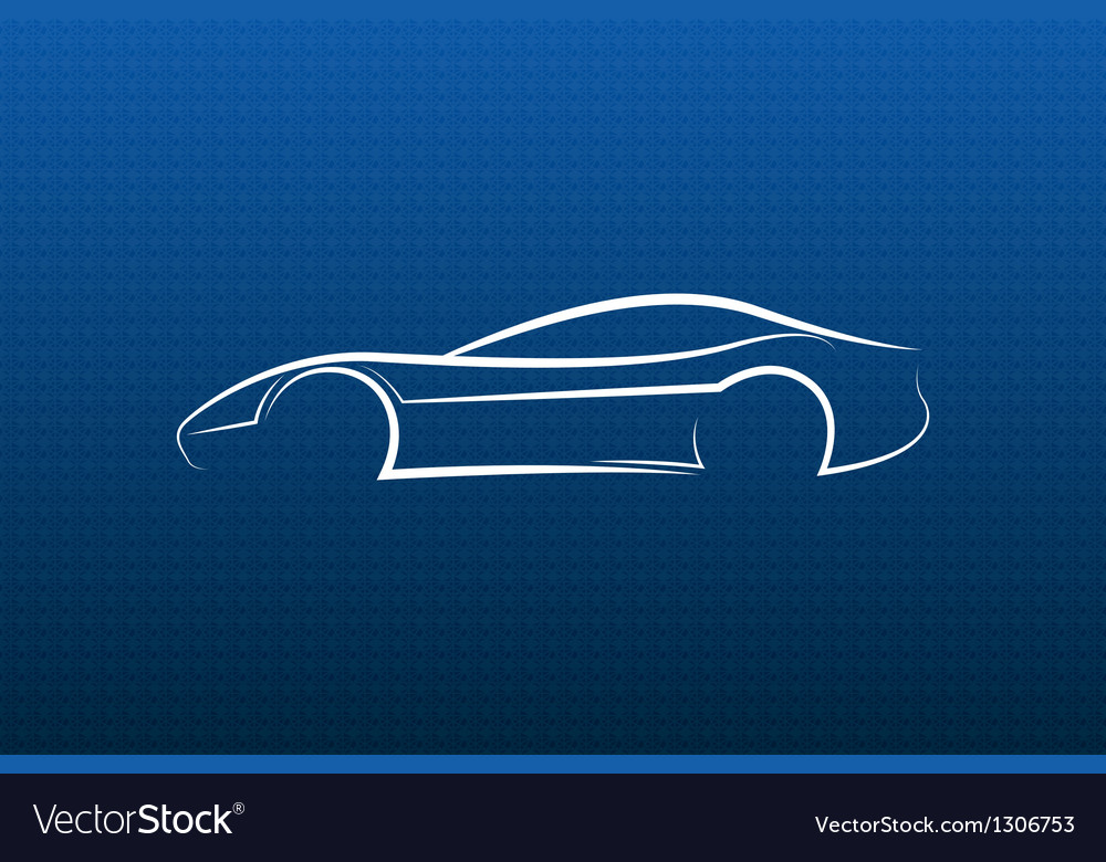 White car logo on blue texture vector