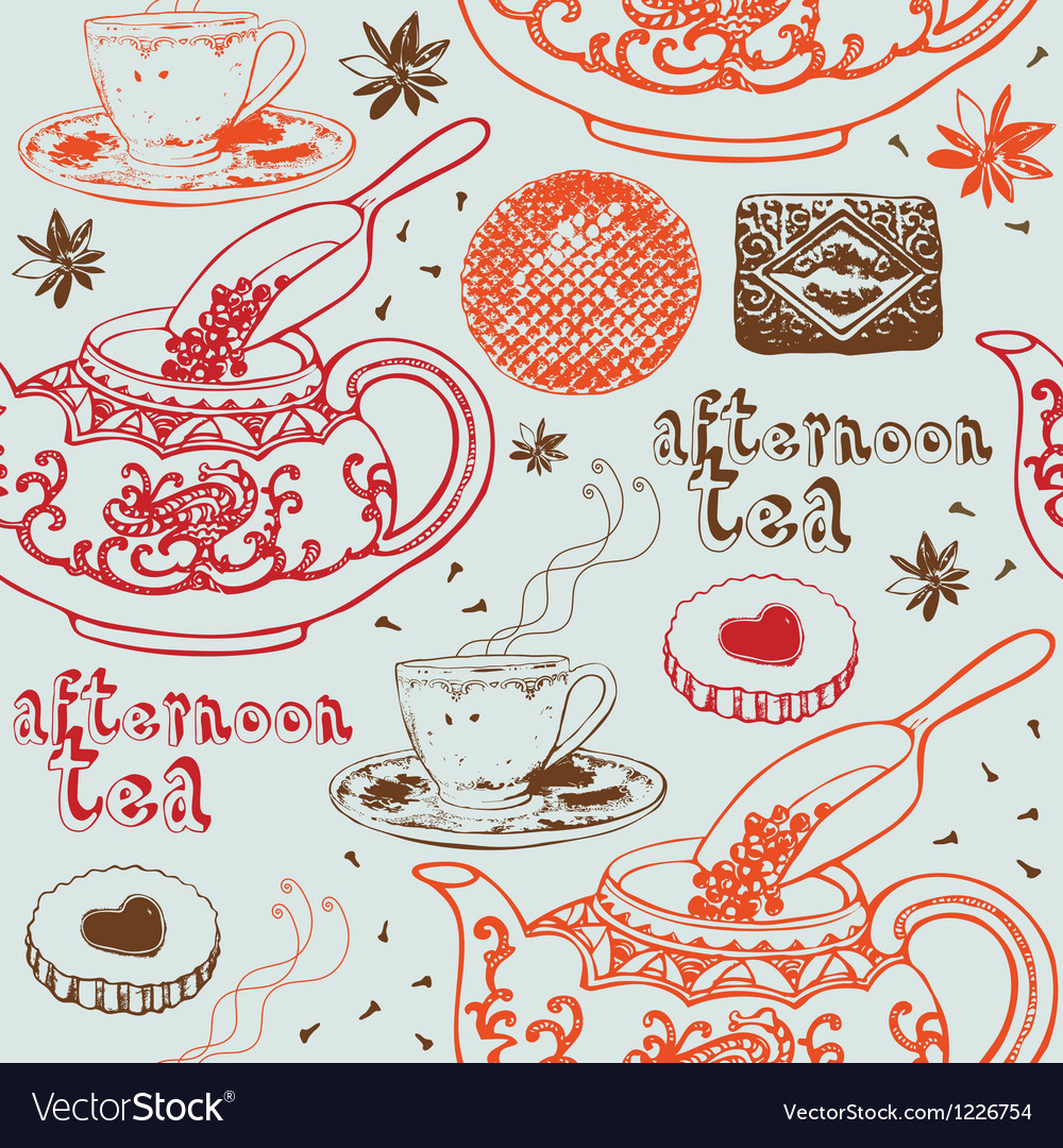 Seamless background with tea and sweets vector